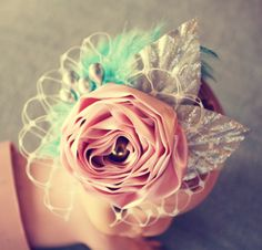 How to Make Fabric and Feather Flower Elastic Lace Headbands   Flower Making Tutorials