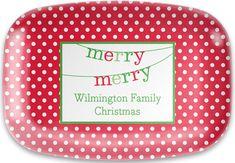 Red Polka Dot Christmas Melamine Platter