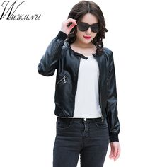 Wmwmnu women faux PU leather short motorcycle jacket zipper pockets plus size coat ladies casual outwear tops short coat ls336c * AliExpress Affiliate's buyable pin. View the item in details on www.aliexpress.com by clicking the VISIT button #Women'sjackets