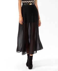 Faux Leather Trimmed Maxi Skirt   FOREVER21 - 2019571987