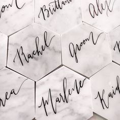 """3"""" or 4"""" Marble Tile Place Cards, Escort Cards, Wedding Coasters, Custom Calligraphy Marble Tiles by SantinaRoseDesign on Etsy https://www.etsy.com/listing/559863857/3-or-4-marble-tile-place-cards-escort"""