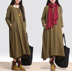Women loose fitting cotton linen long 3/4 sleeve maxi dress - Tkdress - 1