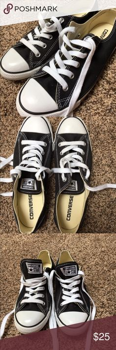 Black Converse A pair of black low top converse. Only worn maybe once. In great condition, with clean laces. Size 7 women's. They're super cute, I just bought the wrong size! Converse Shoes Sneakers