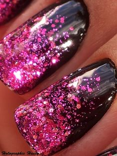 Pink glitter over black polish... 1) Apply a glossy black polish and let dry 2)Apply a pink glitter polish to a makeup sponge and dab on the very tips of nails until you have a solid pink tip 3)Create a gradient using less and less glitter towards the nail bed. 4) Voila! Glitter Gradient Nails!