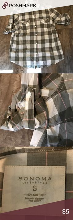 Plaid cotton elbow length or roll tab sleeves Used but good condition.  Cute plaid summer shirt. Sonoma Tops Button Down Shirts