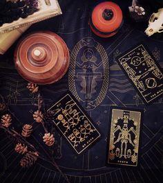 Golden thread tarot cards are black and gold tarot cards