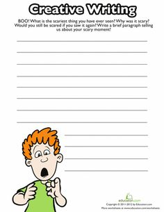 Get into the spirit of Halloween, and write about your scariest experience! This writing prompt is a fun way to build grammar and vocabulary skills. Your child will exercise his creativity, and get a little experience with non-fiction writing. Kindergarten Writing Prompts, Writing Prompts For Writers, Work On Writing, Picture Writing Prompts, Cool Writing, Kids Writing, Writing Skills, Fiction Writing, Teaching Writing