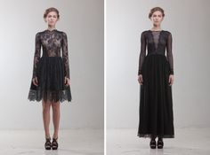 Vintage inspired black lace wedding dresses in full and knee length from @KatyaShehurina