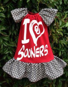 ADORABLE!!!! University of Oklahoma Boomer Sooner girls tee shirt dress Size 2 University Of Oklahoma, Oklahoma Sooners, Tee Shirt Crafts, Boomer Sooner, Shirt Outfit, Shirt Dress, Baby Shirts, Cute Baby Clothes, Football Season