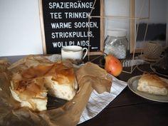 Birnen-Ricotta-Strudel mit Filoteig | Skön och kreativ Strudel, Ricotta, Dairy, Dessert, Cheese, Food, Drinking Tea, Pears, Dessert Food