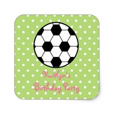 Girl's Soccer Ball Birthday Party Stickers