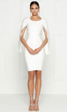 Midnight Scandal White Long Slit Sleeve Scoop Neck Bandage Bodycon Cape Midi Dress | Indie XO