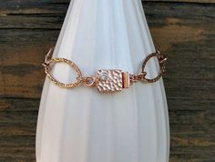 Rose gold bracelet unique clasp cubic by ArtfulHummingbird on Etsy, $132.00