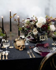 This unique Halloween wedding inspiration has totally put a spell on us. From noir bridal gowns to waxy flowers, moody wedding decor is a no brainer for a celebration this time of year! Is this graveyard tablescape even real life? Romantic Wedding Receptions, Romantic Weddings, Wedding Themes, Wedding Table, Fall Wedding, Dream Wedding, Wedding Black, Black Weddings, Black Tablecloth Wedding