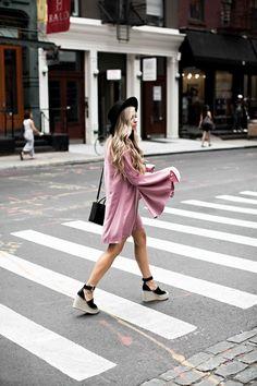 jessakae fashion week pink dress, fashion, street style, womens fashion, bell sleeve dress, nyfw, new york fashion week, pink dress, cocktail dress, party dress... - Total Street Style Looks And Fashion Outfit Ideas
