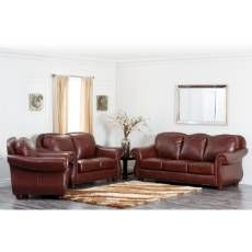 Abbyson Living CH 8857 BRG 3/2 Canterbury Leather Pushback Reclining Sofa  And Loveseat In Burgundy