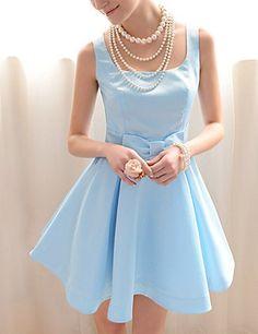 Vintage Square Neck Ruffled Bow Sleeveless Blue Women's Dress