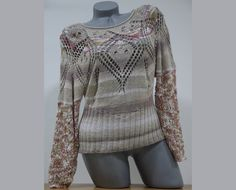 Slimming womens sweater Hand knit blouse with long by CleopatraArt, €61.00