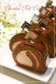 Chocolate deco cake roll
