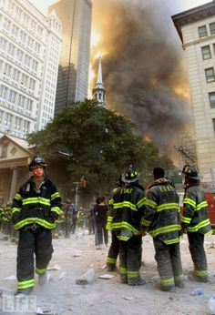 Firefighters watch as smoke rises from the site of the World Trade Center collapse September 2001 in New York City after two hijacked airplanes crashed into the twin towers in a terrorist attack. Get premium, high resolution news photos at Getty Images World Trade Center Collapse, Trade Centre, We Will Never Forget, Lest We Forget, Don't Forget, Flatiron Building, Lower Manhattan, Firefighter Watches, 11 September 2001