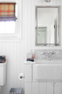 Burnham Design - bathrooms - beabdoard, white beadboard bathroom, beadboard walls, beadboard backsplash, farmhouse sink, bathroom farmhouse ...