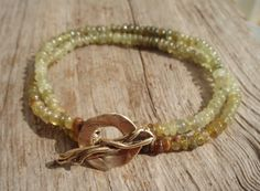 Green garnet double bracelet bronze clasp by kudzupatch on Etsy, $50.00