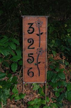 NEW - HOUSE ADDRESS Panel Stake - Rusted Steel - 4 Designs to Choose From. $55.00, via Etsy.
