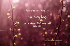Sometimes you have to risk everything for a dream only you can see..