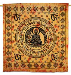 Beautiful Indian Screen Printed Cotton Buddha Printed Tapestry or Bed Cover in Twin Size ..this is img