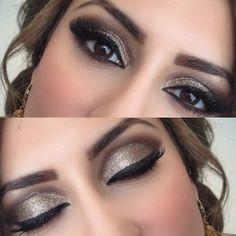 Gold glitter eye #goldglitter #smokeyeye #eveningmakeup #cleveland by ranias_hair_salon on IG