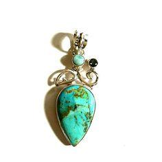 Turquoise, Lamar, Mystic topaz .925 pendant Turquoise, Lamar, Mystic topaz sterling silver pendant myriad Design  Jewelry Necklaces