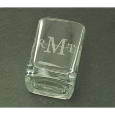 Square #Shot #Glass - Monogram  This square shot glass can be #monogrammed or engraved with a name or title. Makes a great fun and inexpensive gift. Convo me for pricing on la... #engrave #engraved #gift #groomsgift #groomsmen #housewares