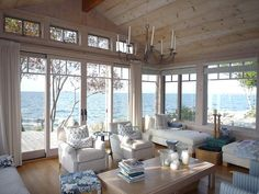 Love the windows in this beach cottage. Great view!