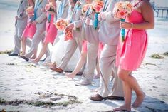 idea, color combos, color schemes, white shirts, bridesmaid, beach weddings, wedding colors, teal, coral weddings
