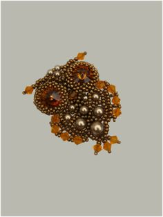 Owl brooch  seed bead jewelry  Japanese seed beads and by rill, ₪200.00
