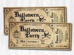 Halloween Invitations Halloween Ticket Invitations by SugarShebang Halloween Vintage, Halloween Home Decor, Halloween Themes, Halloween Crafts, Halloween Decorations, Halloween Dance, Halloween Birthday, Fall Halloween, Happy Halloween