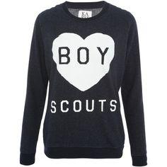 Zoe Karssen Navy I Love Boy Scouts Loose Fit Jumper ($150) via Polyvore