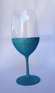 DIY glittery wine glass for brides, bachelorettes, or gifts
