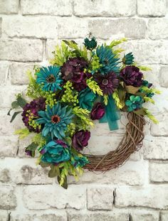 Teal and Plum Silk Flower Wreath, Grapevine Wreath, Front Door Wreath, Fall Wreath, Etsy -    Welcome your guests into your home with this