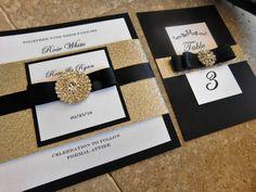 Black-Gold Bling Jewel Wedding Invitation  Lovely by inkandlove