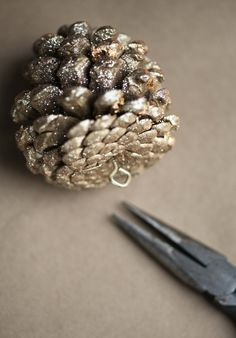 DIY | GLITTER PINE CONE ORNAMENTS. If you use the cinnamon ones it will make your house smell delicious!!!