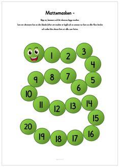 Mattemasken - Träna talraden 1-20 Free Teaching Resources, Teaching Math, Hands On Activities, Anchor Charts, Booklet, Education, Mini Mini, Inspiration, Early Education