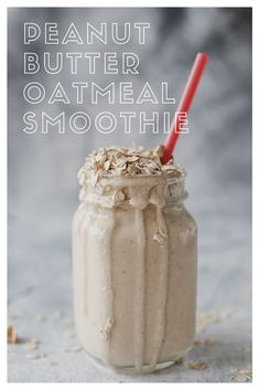 Peanut Butter Oatmeal Breakfast Smoothie garnish *gluten free oats for a gluten-free recipe DIRECTIO Protein Smoothies, Fruit Smoothie Recipes, Healthy Breakfast Smoothies, Oatmeal Smoothies, Easy Smoothies, Nutri Bullet Smoothies, Milk Smoothies, Healthy Breakfasts, Peanut Butter Smoothie