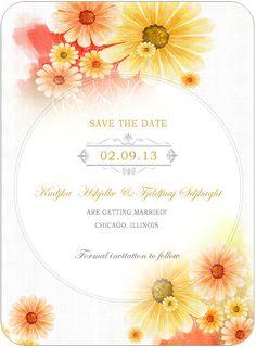 Summer Sunflower Bright Wedding Save A Date Cards HPS039