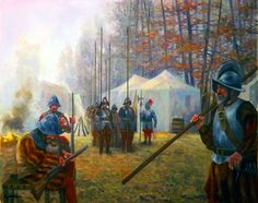 Hapsburg tercio pikemen encampment