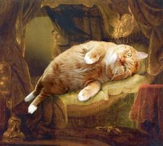 Famous Paintings Improved by Cats. Rembrandt, Danae. #funny #haha #humor click through for more! :)