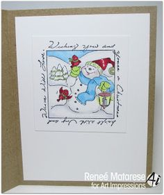 Art Impressions Rubber Stamps: Window Die and With Love Window ... Ai Windows to the World.  Handmade card. poinsettia, snowman, snowmen,  Christmas, Winter