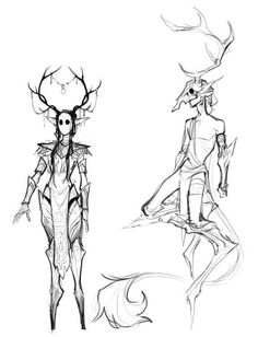 """""""I felt bad that I havent posted anything in forever so heres some fantasy forest creature spirit things"""" Fantasy Character Design, Character Design Inspiration, Character Art, Creature Concept Art, Creature Design, Creature Drawings, Mythical Creatures Art, Drawing Poses, Art Reference Poses"""