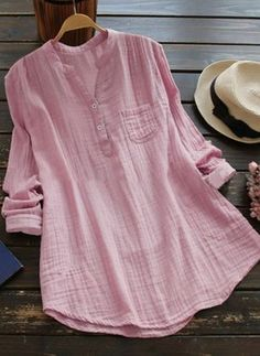 Top Fashion Zanzea Casual V-Neck Long Sleeve Loose Blouse Women Spring Solid Cotton Linen Baggy Short Sleeve Blouse, Long Sleeve, The Office Shirts, Shirt Bluse, Loose Shirts, Cotton Shirts, Loose Tops, Look Fashion, Fashion 2018