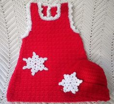 """Crocheted Christmas Red Jumper for Infant w Snowflake Applique and Matching Hat - By """"Magdalene Knits"""" on Etsy -- Crochet Jumper, Hand Crochet, Crochet Baby, Hand Knitting, Red Christmas Jumper, Christmas Jumpers, Handmade Baby, Handmade Clothes, Handmade Gifts"""